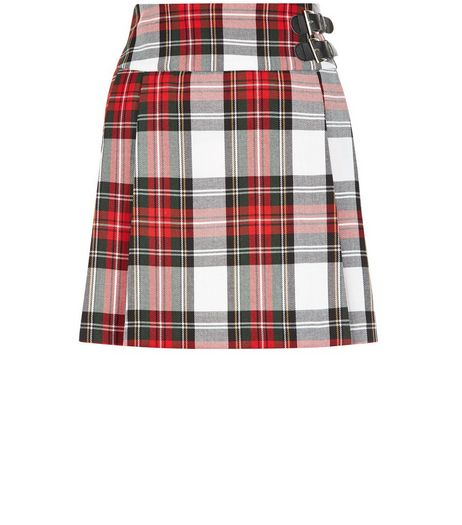 Teens White Tartan Check Buckle Side Skirt | New Look