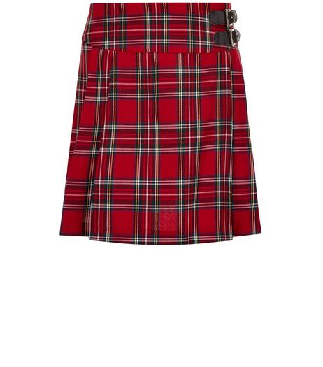 Teens Red Tartan Pleated Skirt  | New Look