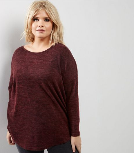 Curves Burgundy Zip Back Brushed Top | New Look