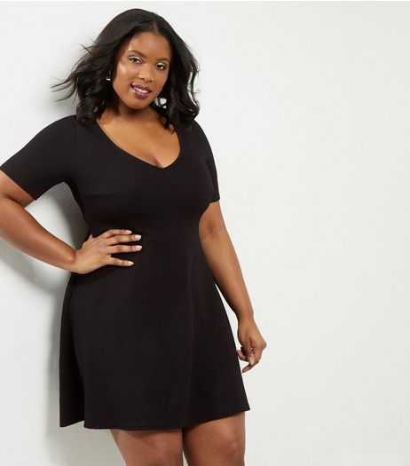Curves Black Textured V Neck Skater Dress | New Look