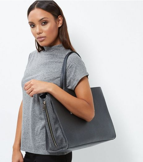 Black Popper Tote Bag | New Look