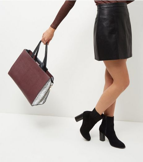 Burgundy Popper Tote Bag | New Look