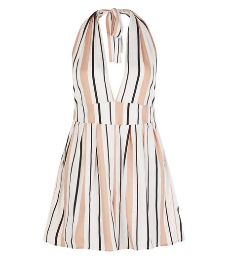 Influence Pink Stripe Halter Neck Playsuit | New Look