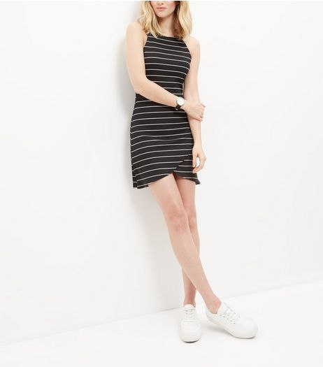 Influence Black Stripe Sleeveless Wrap Dress | New Look