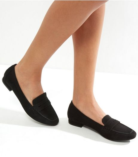 Black Square Toe Loafers  | New Look