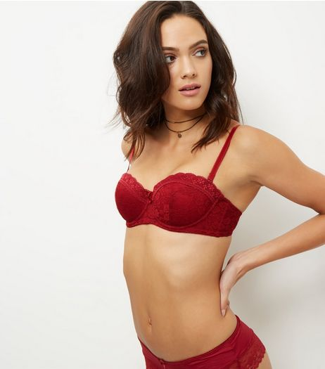 Dark Red Lace Strapless Bra | New Look