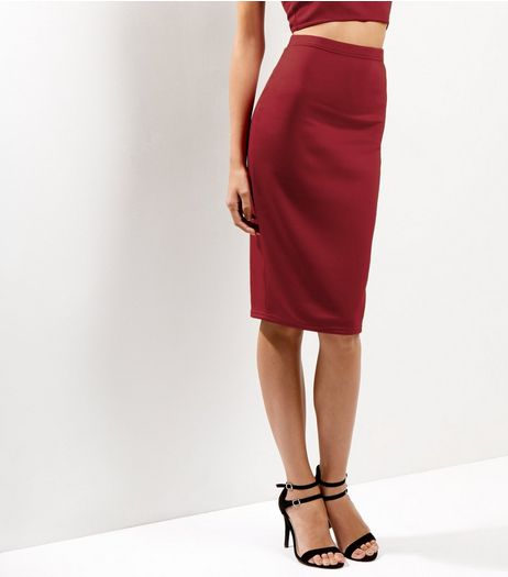 Burgundy Scuba Midi Pencil Skirt | New Look