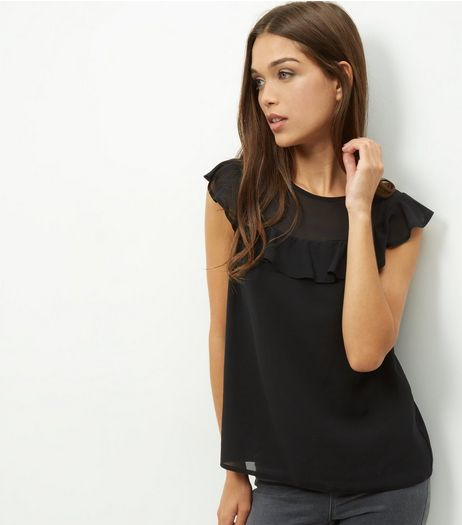 Black Chiffon Ruffle Trim Sleeveless Top  | New Look