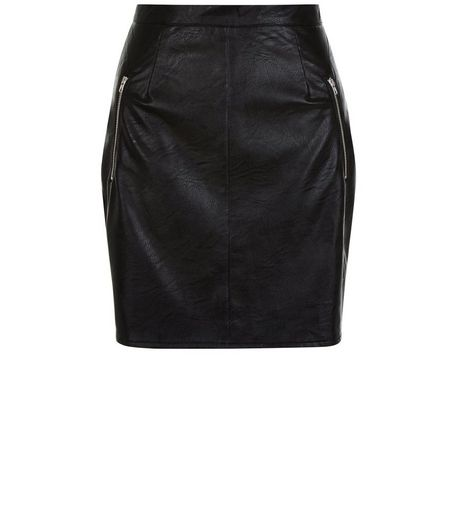 Cameo Rose Black Leather-Look Zip Pocket Mini Skirt | New Look