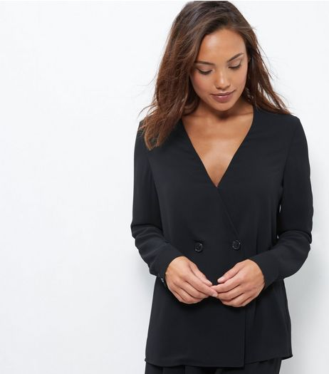 Black Double Button Front Wrap Front Jacket  | New Look