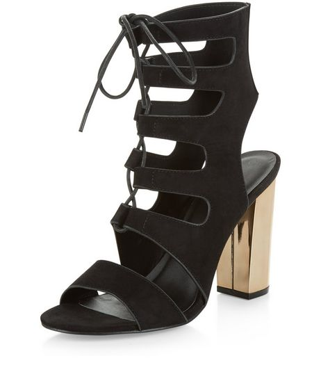 Black Suede Ghillie Metal Block Heels  | New Look