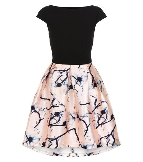 Cameo Rose Black Floral Print 2 in 1 Skater Dress | New Look