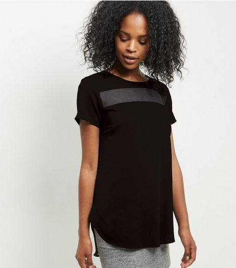 Black Sheer Panel Curved Hem T-Shirt  | New Look