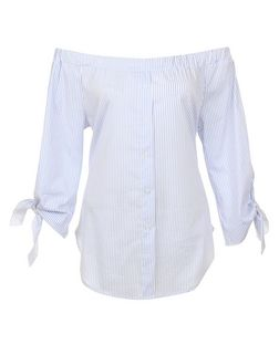 Loving This Blue Stripe Bardot Neck Shirt | New Look