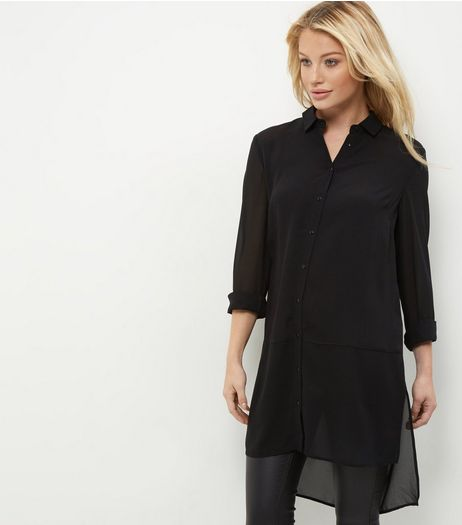 Black Sheer Longline Shirt | New Look