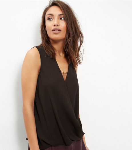 Black Chain Wrap Front Sleeveless Top  | New Look