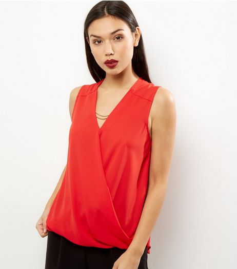 Red Chain Wrap Front Sleeveless Top | New Look