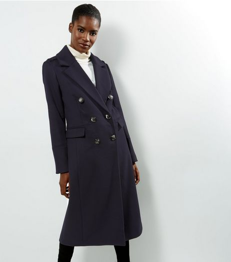 Navy Military Maxi Coat | New Look
