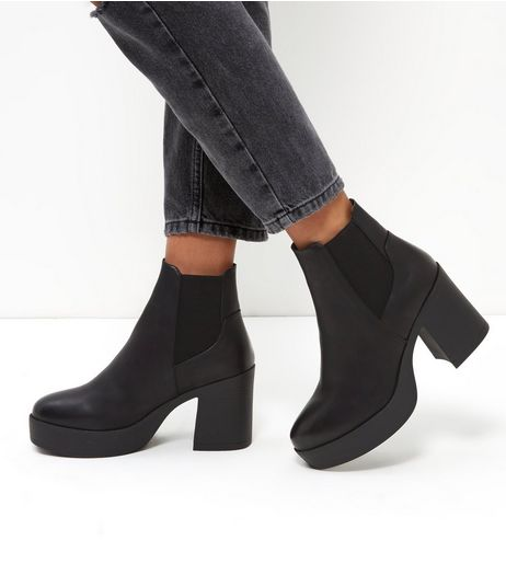 Black Platform Flared Heel Chelsea Boots | New Look