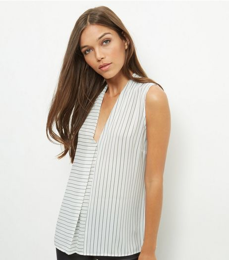 White Contrast Stripe V Neck Sleeveless Top  | New Look