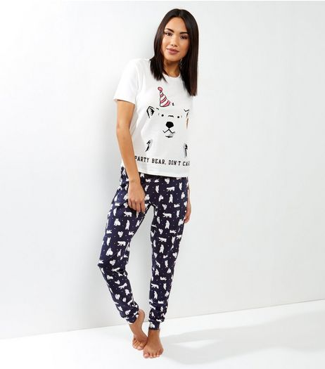 Tall White Party Bear Pyjama Set | New Look