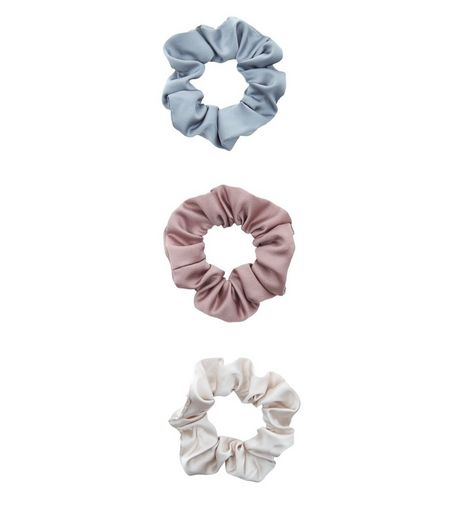 3 Pack Blue Mink And Cream Scrunchies | New Look