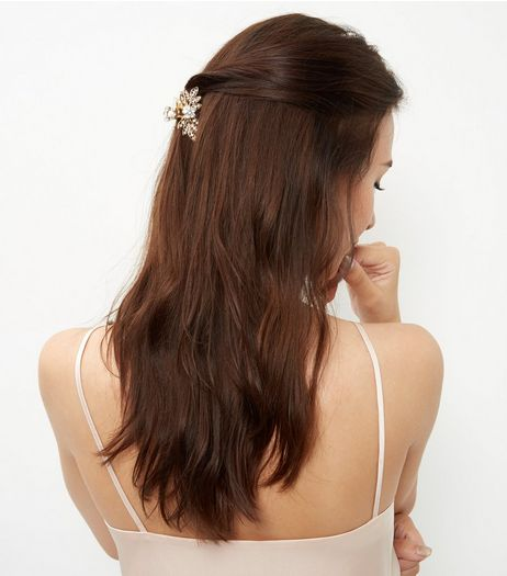 Gold Diamante Filigree Bulldog Clip | New Look