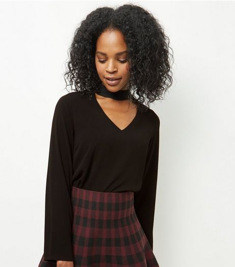 Black Choker Long Sleeve Top  | New Look