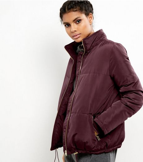 Burgundy Padded Puffer Jacket | New Look