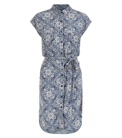 Apricot Blue Tile Print Shirt Dress | New Look