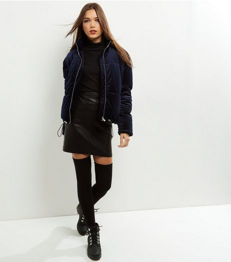 Navy Velvet Padded Puffer Jacket  | New Look