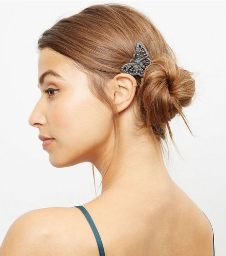 Dark Grey Butterfly Hair Brooch | New Look