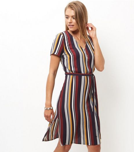 Blue Stripe Tie Waist Cap Sleeve Midi Dress  | New Look