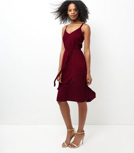 Burgundy Tie Waist Midi Slip Dress  | New Look