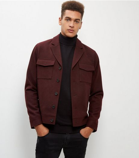 Burgundy Wool Mix Double Pocket Jacket | New Look