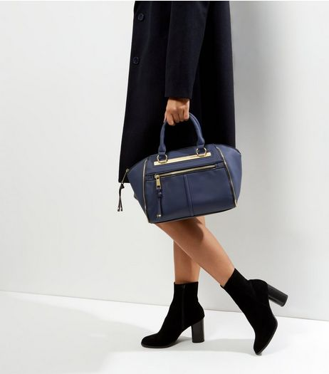 Navy Zip Top Bowler Bag  | New Look