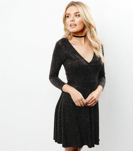 Black Glitter Padded Shoulder Skater Dress | New Look