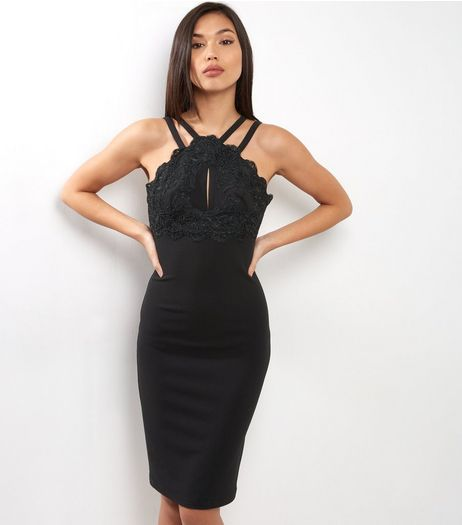 Black Floral Embroidered Detail Double Strap Bodycon Dress | New Look