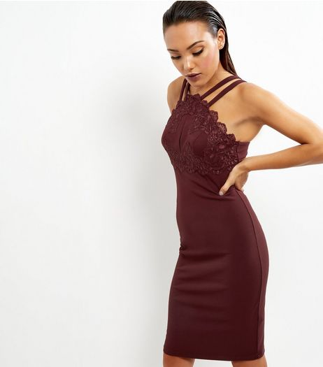 Burgundy Lace Trim Strappy Bodycon Dress | New Look