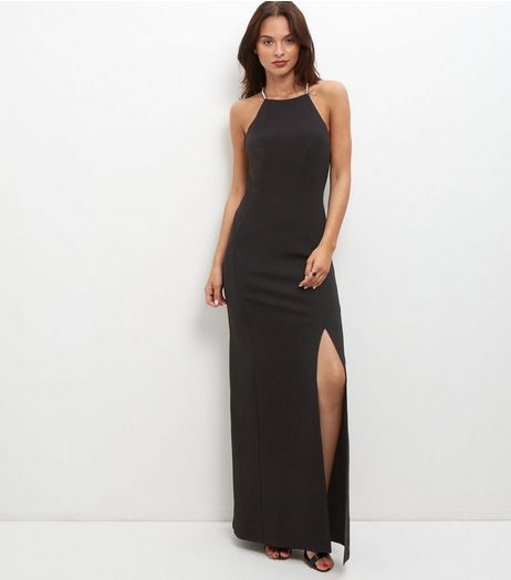Black Split Side Diamante Strap Maxi Dress | New Look