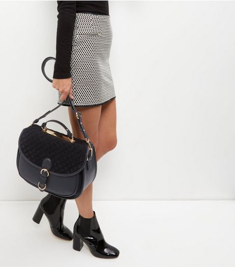 Black Leather-Look Quilted Panel Satchel | New Look