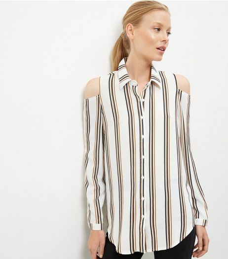 White Stripe Cold Shoulder Long Sleeve Shirt  | New Look
