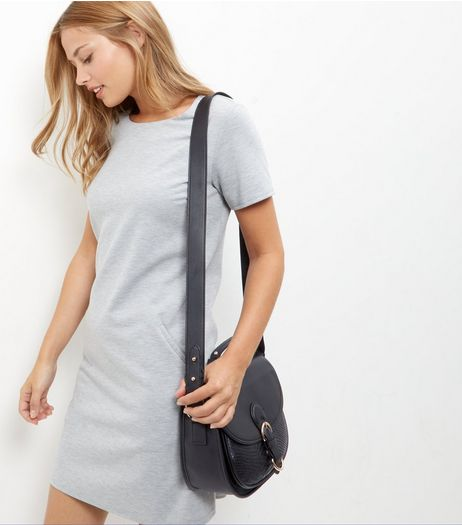 Black Leather-Look Buckle Saddle Bag | New Look