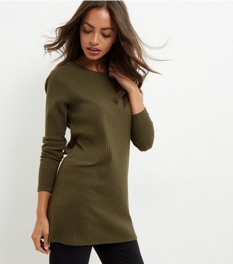 Olive Green Brushed Longline Top | New Look