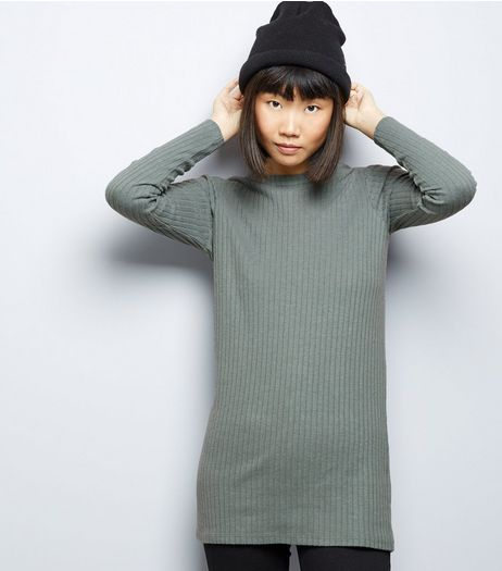 Green Ribbed Brushed Tunic  | New Look