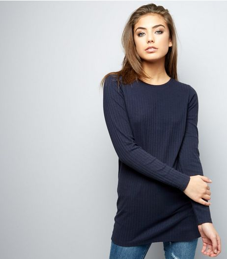 Navy Ribbed Brushed Tunic  | New Look