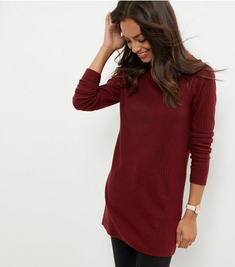 Burgundy Brushed Ribbed Tunic | New Look