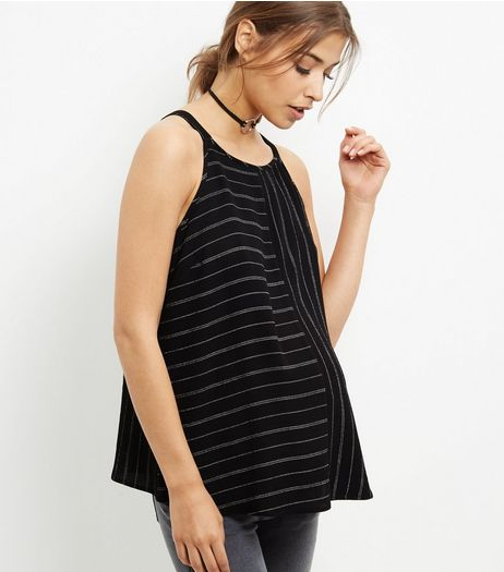 Maternity Black Stripe High Neck Cami | New Look