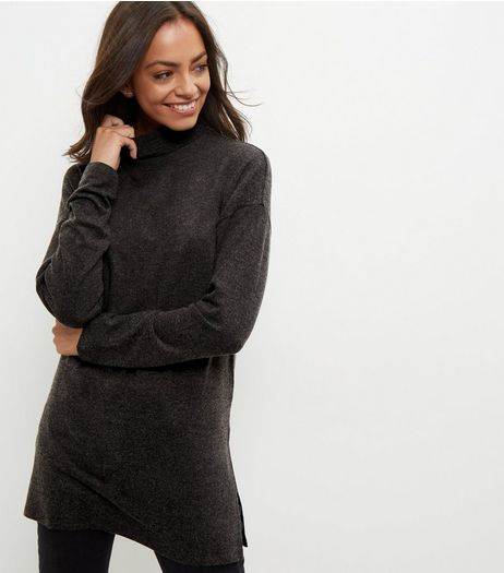 Dark Grey Brushed Funnel Neck Longline Jumper  | New Look