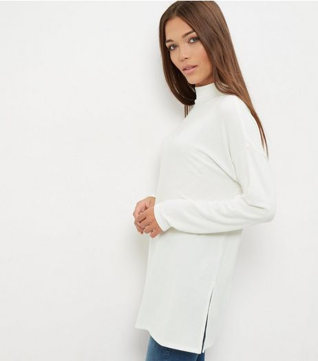 Cream Brushed Funnel Neck Tunic  | New Look